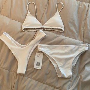 Zaful Ribbed Bikini Set & Bonus Bottoms